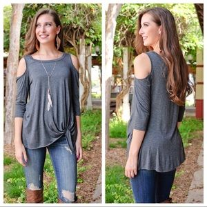 Charcoal Tie Front Cold Shoulder Tunic
